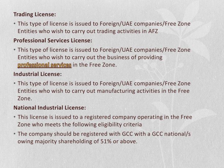 Trading License: