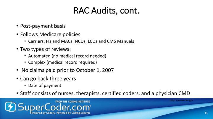 RAC Audits, cont.