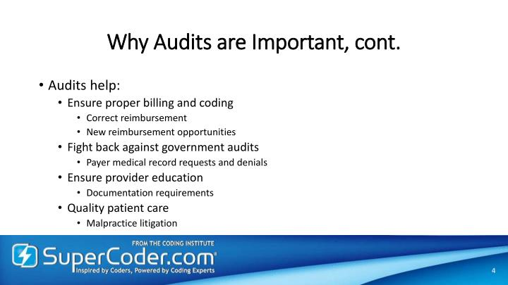 Why Audits are Important, cont.