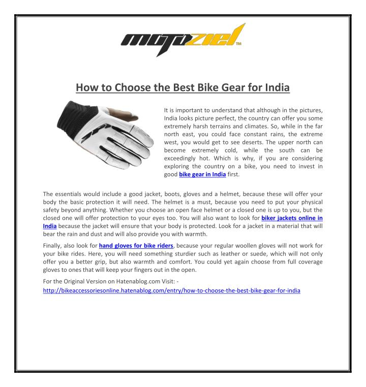 How to Choose the Best Bike Gear for India