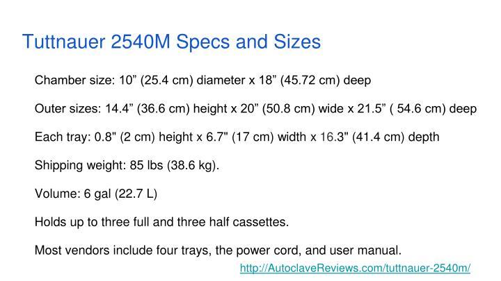 Tuttnauer 2540m specs and sizes