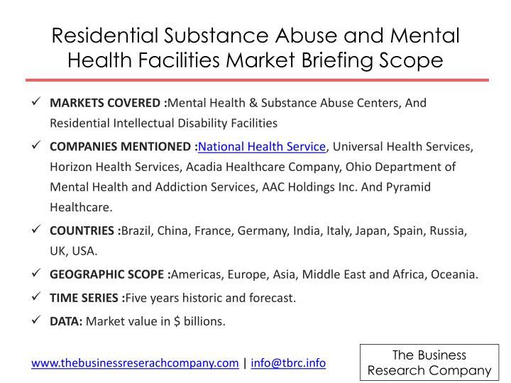 Residential Substance Abuse and Mental Health Facilities Market Briefing
