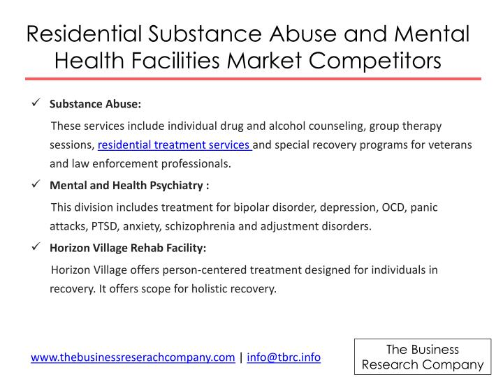 Residential Substance Abuse and Mental Health Facilities Market Competitors