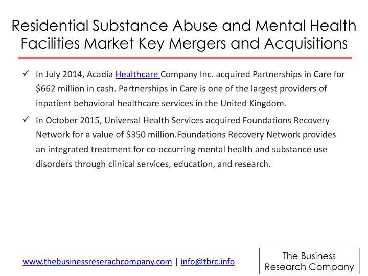 Residential Substance Abuse and Mental Health Facilities Market Key Mergers and Acquisitions