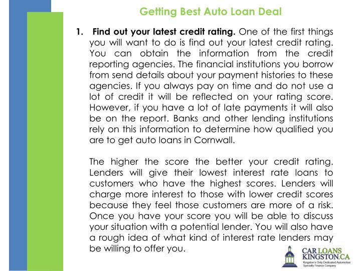 Getting Best Auto Loan Deal