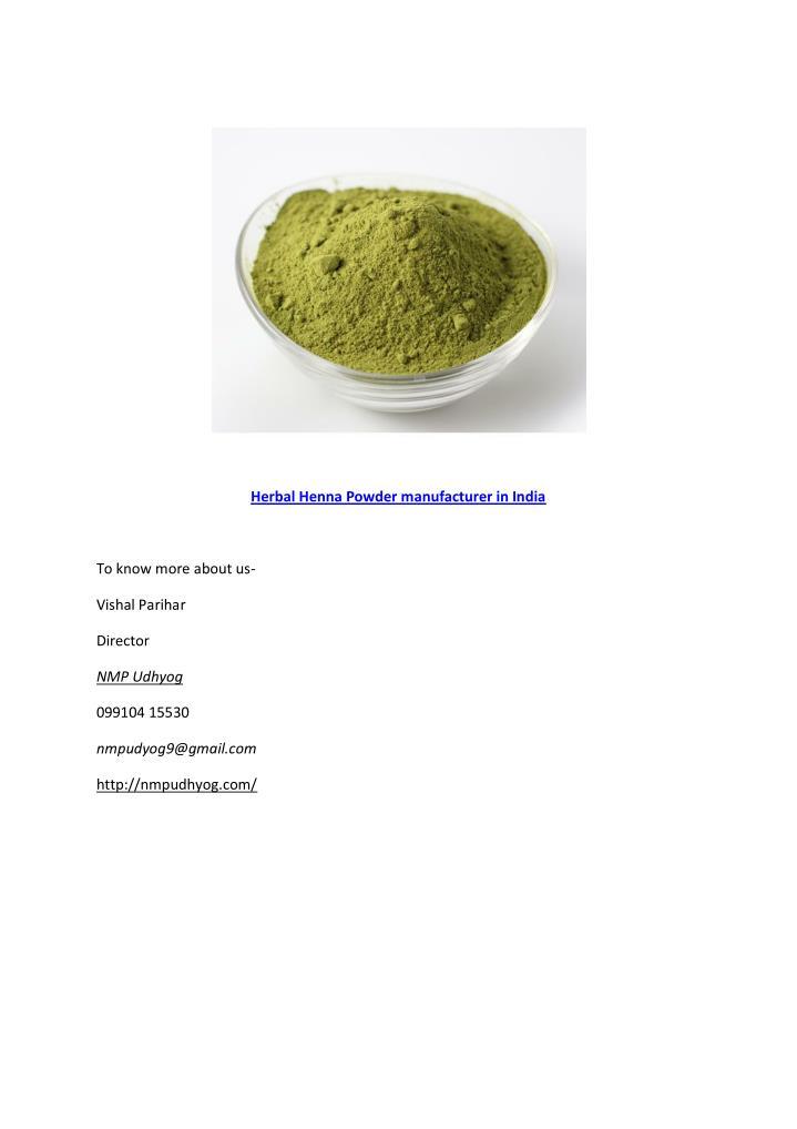 Herbal Henna Powder manufacturer in India