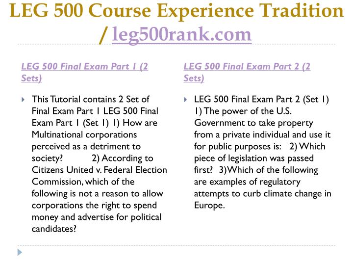 leg 500 final exam Leg 500 week 11 final exam – strayer newclick on the link below to purchase a+ graded materialinstant download.