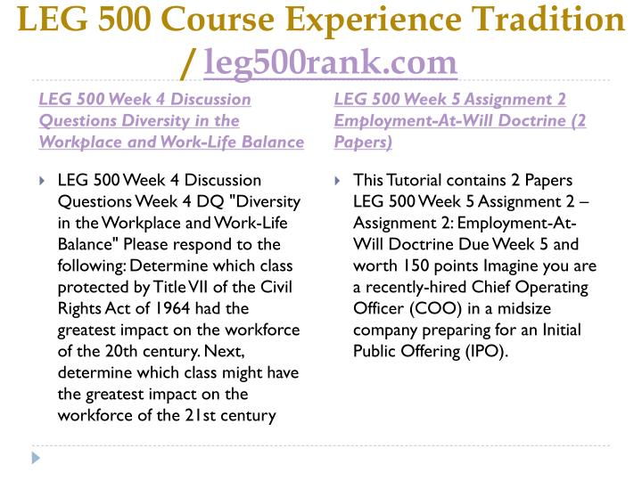 leg 500 assignment 3 Leg 500 week 3 assignment 1 whistleblowing and sarbanes-oxley students, please view the submit a clickable rubric assignment video in the student center instructors, training on how to grade is within the instructor center.