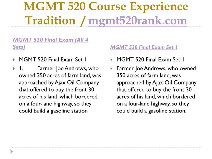Mgmt 520 course experience tradition mgmt520rank com1