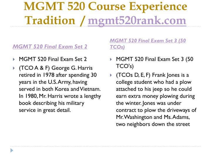 Mgmt 520 course experience tradition mgmt520rank com2