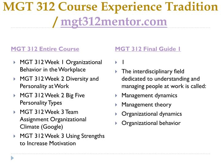 Mgt 312 course experience tradition mgt312mentor com1