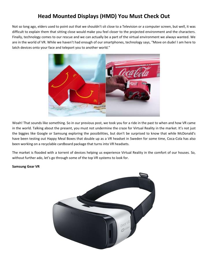 Head Mounted Displays (HMD) You Must Check Out