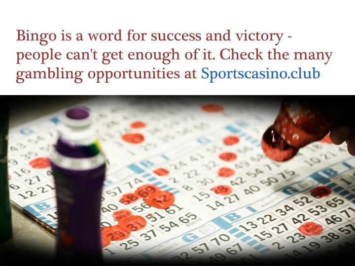 Bingo is a word for success and victory - people can't get enough of it. Check the many gambling opportunities at