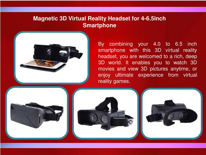 Magnetic 3D Virtual Reality Headset for 4-6.5inch Smartphone