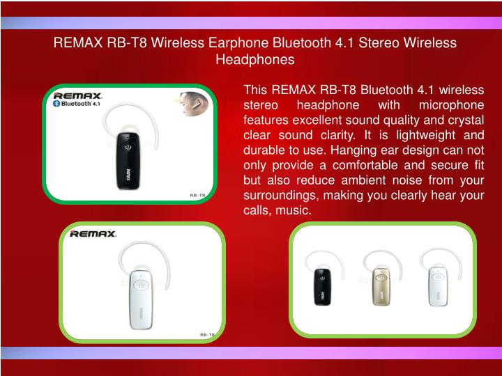 REMAX RB-T8 Wireless Earphone Bluetooth 4.1 Stereo Wireless Headphones