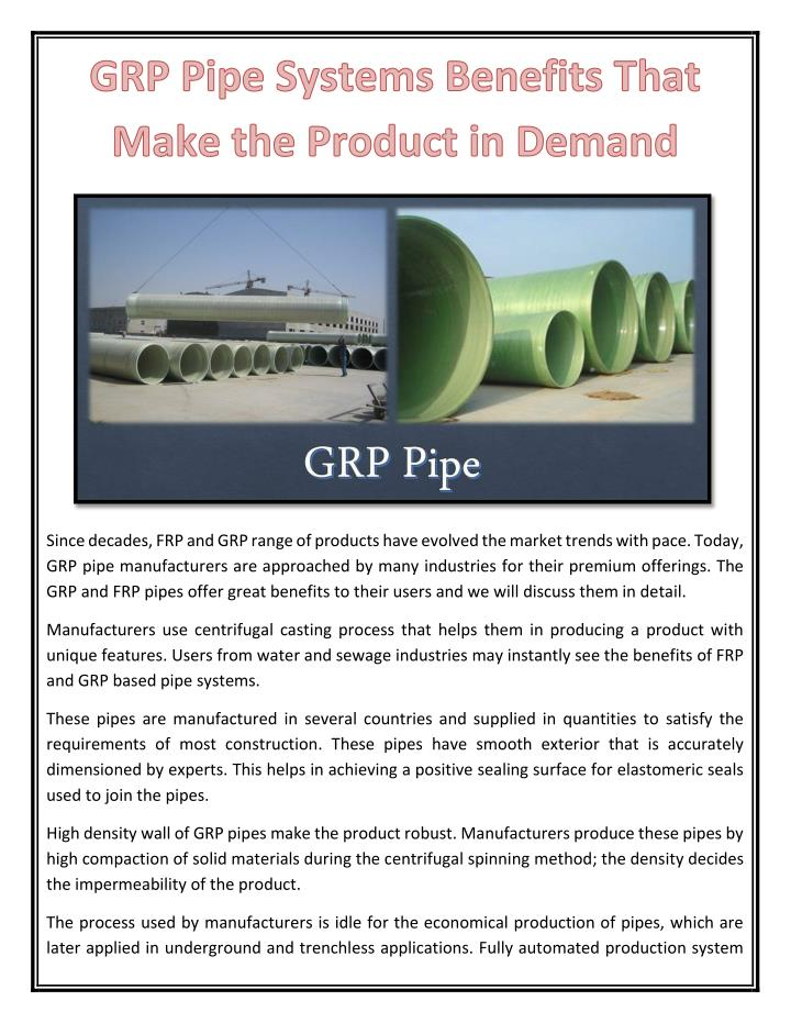Since decades, FRP and GRP range of products have evolved the market trends with pace. Today,
