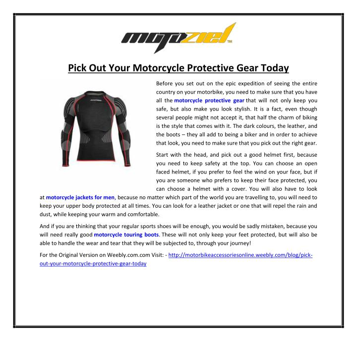 Pick Out Your Motorcycle Protective Gear Today