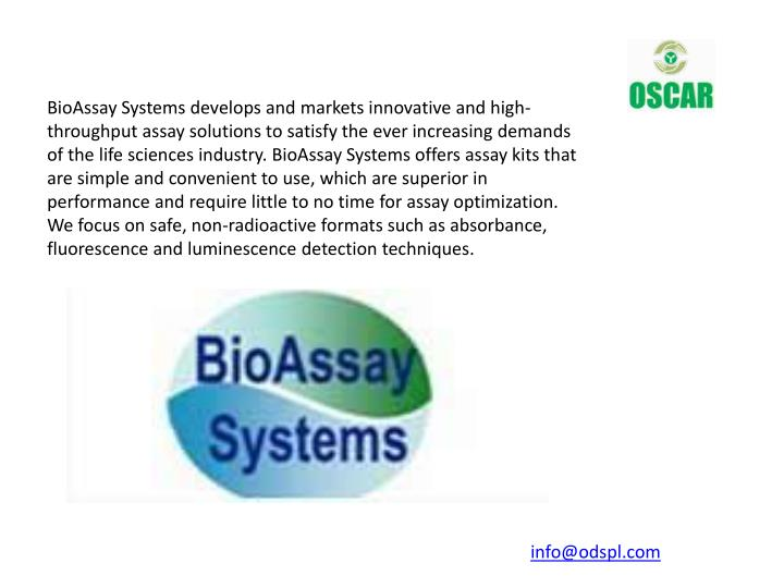 BioAssay Systems develops and markets innovative and high-
