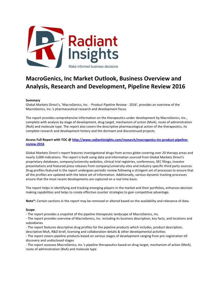 MacroGenics, Inc Market Outlook, Business Overview and