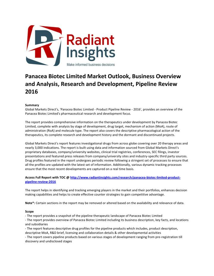 Panacea Biotec Limited Market Outlook, Business Overview