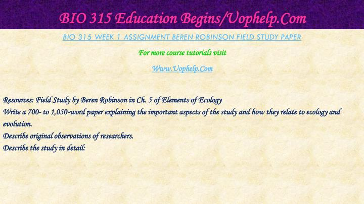 Bio 315 education begins uophelp com2