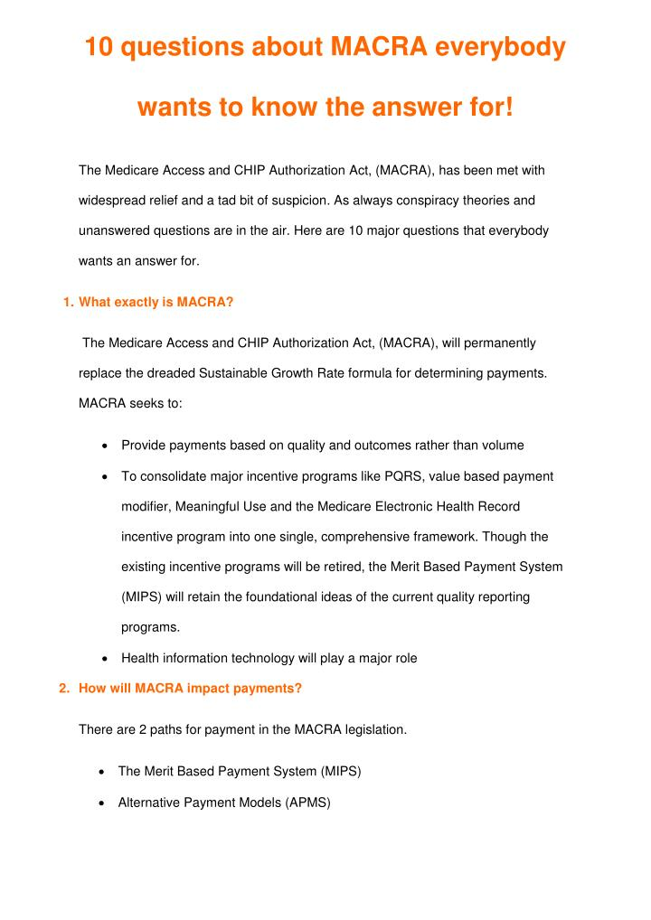10 questions about MACRA everybody