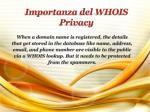 importanza del whois privacy