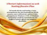 ulteriori informazioni su web hosting finestre plan