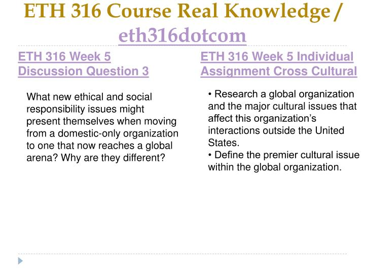 ETH 316 Course Real Knowledge /
