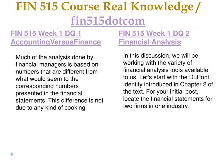 FIN 515 Course Real Knowledge /