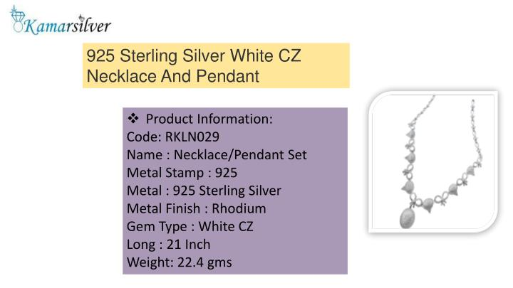 925 Sterling Silver White CZ Necklace And Pendant