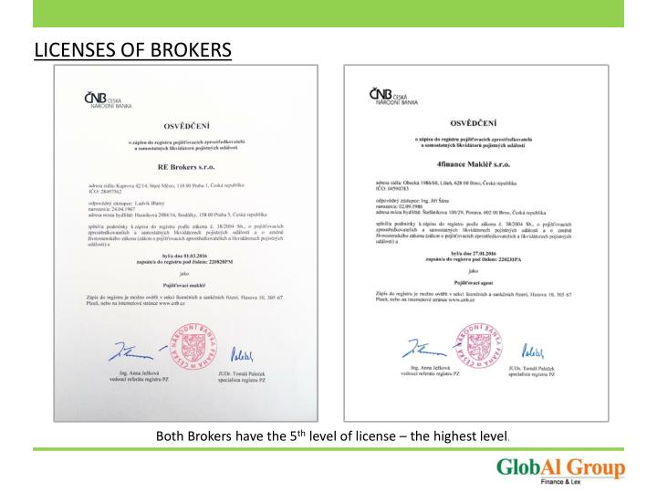 LICENSES OF BROKERS