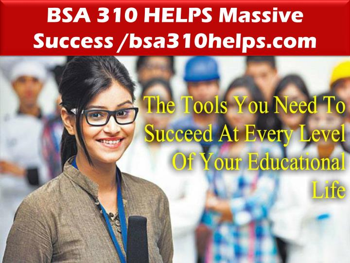 BSA 310 HELPS Massive Success