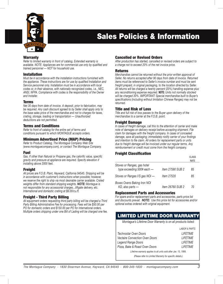 Sales Policies & Information