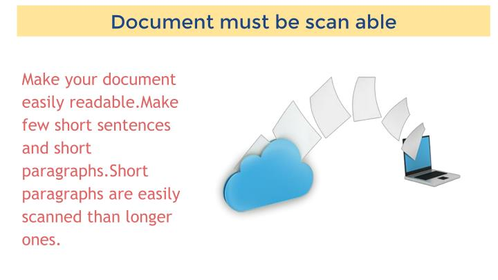 Document must be scan able