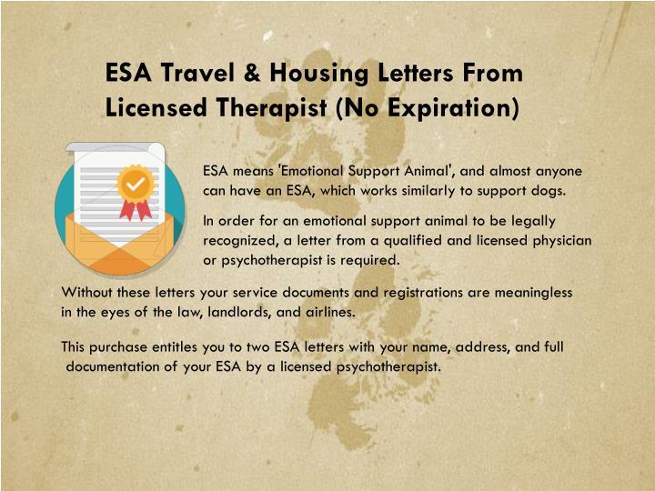 ESA Travel & Housing Letters