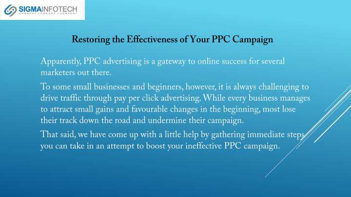 Restoring the Effectiveness of Your PPC Campaign