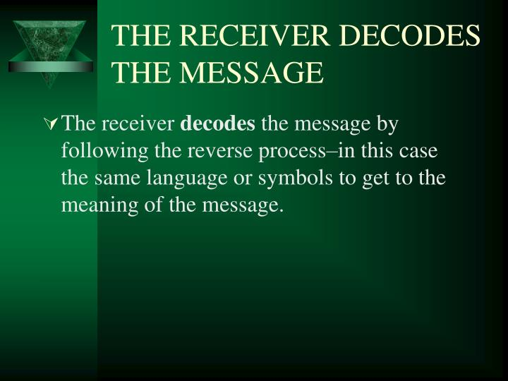 THE RECEIVER DECODES THE MESSAGE