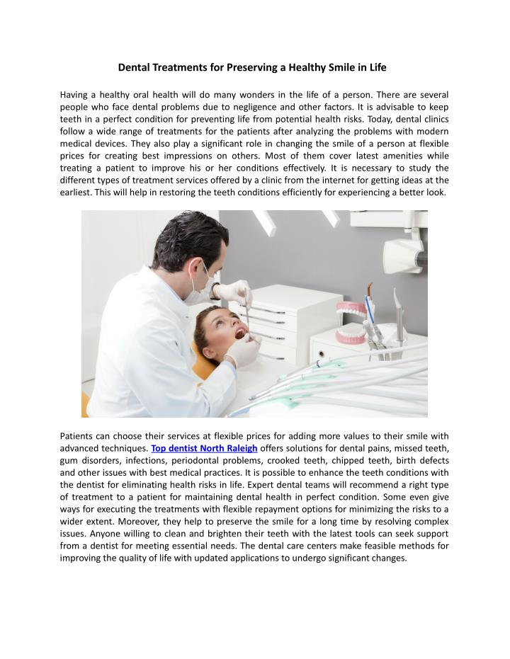 Dental Treatments for Preserving a Healthy Smile in Life
