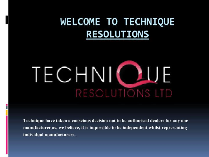 Welcome to technique resolutions