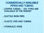 commercially available pipes and tubing1