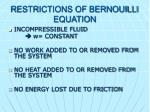 restrictions of bernouilli equation
