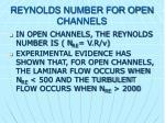 reynolds number for open channels