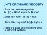 units of dynamic viscosity