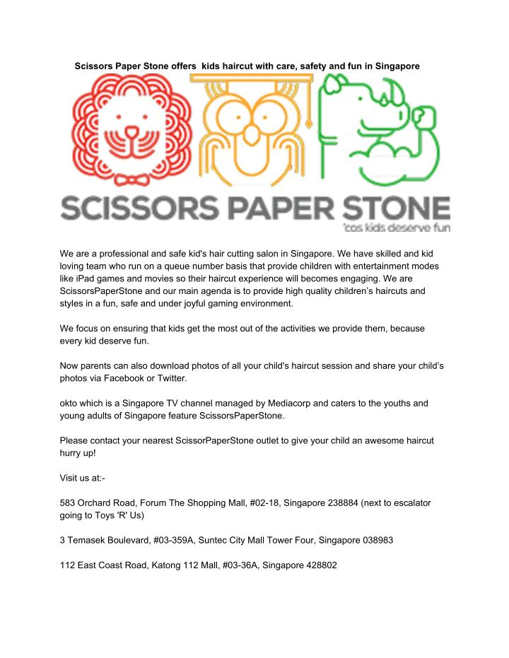 Scissors Paper Stone offers  kids haircut with care, safety and fun in Singapore