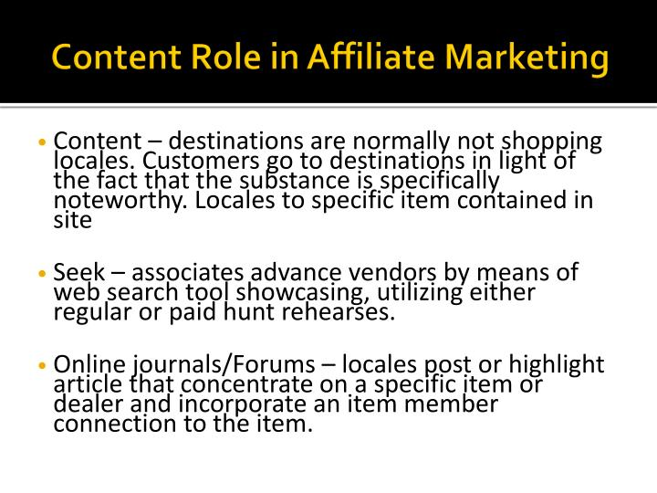 Content Role in Affiliate Marketing
