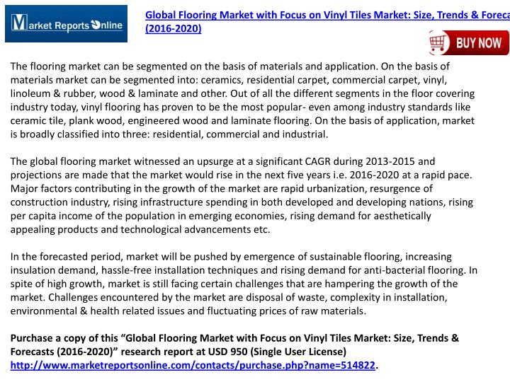 Global Flooring Market with Focus on Vinyl Tiles Market: Size, Trends & Forecasts
