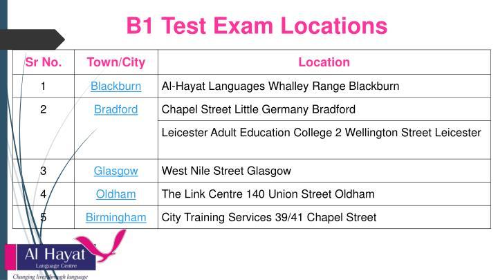 B1 Test Exam Locations