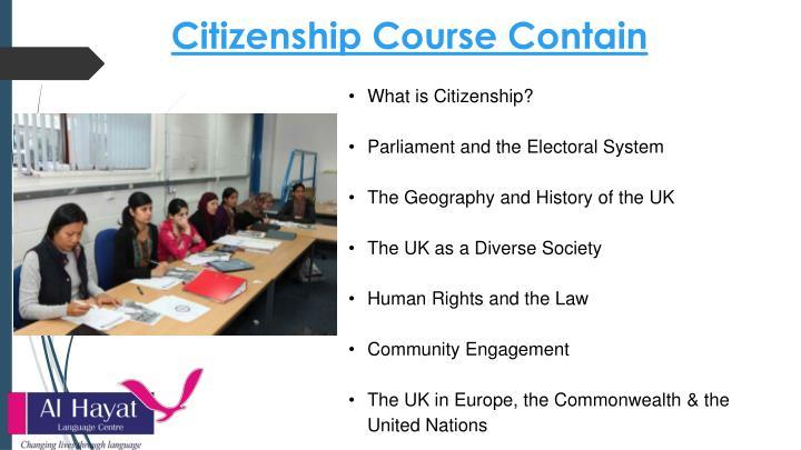 Citizenship Course Contain