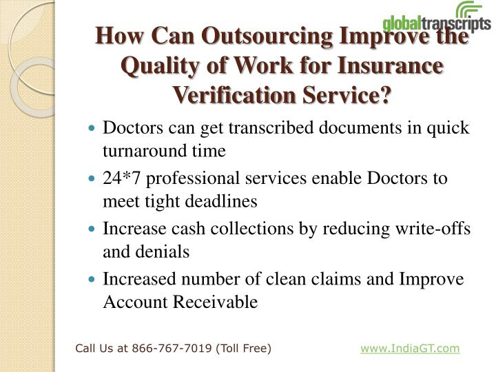 How Can Outsourcing Improve the Quality of Work for Insurance Verification